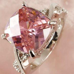 Pink Princess Gemstone Crystal Ring Size 7